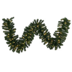 "Pre-Lit Warm White Mini Lights Artificial Garland - Premium commercial grade garland with 100 warm white LED mini lights with end to end connecting. Overall size is 9' x 14""."